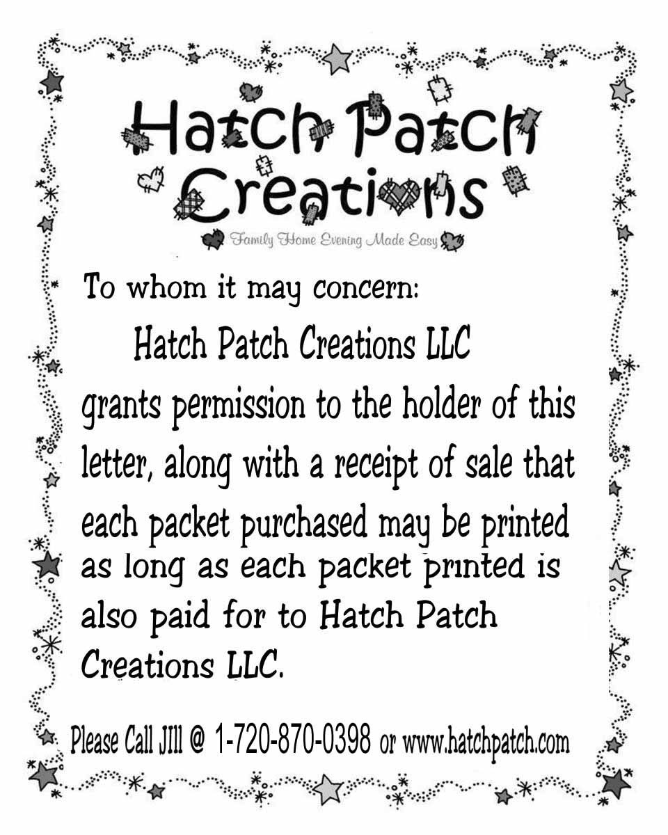 Specials | Family Home Evening made easy!|Hatch Patch Creations